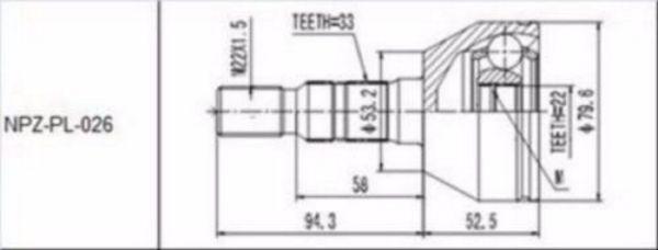 JOINT SET OUTER OPEL ASTRA H 1.4, 1.6 2004 ZAFIRA B 1.6 2005-NEU