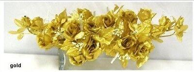Wedding Flowers Gold - Gold Swag Silk Wedding Roses Centerpiece Flowers Arch Gazebo Pew Anniversary