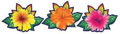 3 x Tropical Flower CutOuts CHEAP Hawaiian Party Decorations Summer Party](Cheap Hawaiian Decorations)