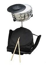 14 inch Silver 1-pc Snare Drum Set With Case, One Set of Sticks, Stand and More