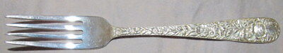 """S. KIRK & SON REPOUSSE ROSE STERLING SILVER 7 1/8"""" DINNER FORK EXCELLENT COND"""