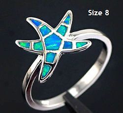 New- Blue Fire Opal .925 Sterling Silver Starfish Ring. Size 8. Sarnia Sarnia Area image 1