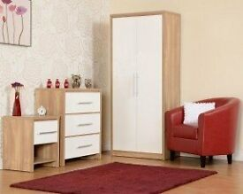 NEW White bedroom set Wardrobe, Chest of drawers & Bedside