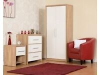 NEW Oak effect bedroom set Wardrobe, Chest of drawers & Bedside in Black White Red or Grey