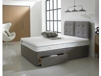 Salus - King Size Double Divan Bed + Mattress (High Medium/Firm)