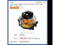 Tower Health T14001 Oil Free Halogen Air Fryer, 1300 Watt, 17 Litre, Black