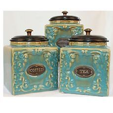 MOROCCAN AQUA/TEAL PATTERNED TEA COFFEE SUGAR CANISTERS - SET OF 3