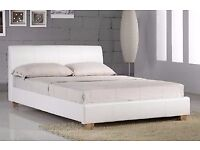 "King Size White Leather Bed + headboard + 12"" Thick luxury Mattress"