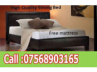 BED DOUBLE LEATHER RIO BED AND MATT BRAND NEW FREE quilt 3