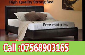 BED DOUBLE LEATHER RIO BED AND MATT BRAND NEW FREE quilt 7230