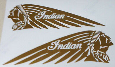 """Metallic GOLD Indian 4.5"""" x 12"""" Motorcycle Tank Decal Sticker Scout Chief L & R"""