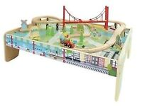 Carousel Wooden Train Table with 56 Piece Train Set Brand NEW in BOX