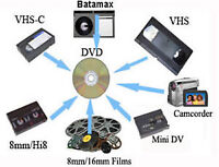 DVD transfers from VHS - 8MM - VHS-C - Beta - Reels + More!!!