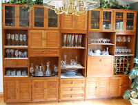 $350. per Piece to Sell Separately-3 Units-SOLID OAK WALL UNIT