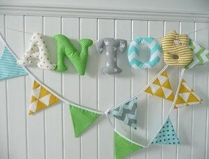 FABRIC wall LETTERS TRIANGLE BANNER  check my Facebook