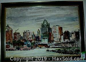 Large Framed C. 1960 Toronto Cityscape Signed Oil Painting On Canvas
