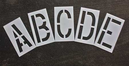 Rae Stl-116-8185 Pavement Stencil,18 In,Alphabet Kit,1/16