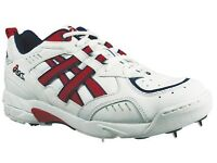 NEW* ASICS GEL 334 CRICKET SHOES / SPIKES / BOOTS, White/Red (Size 10)