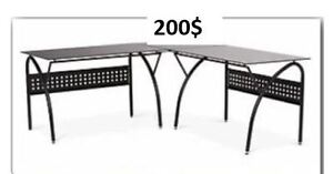 BLACK METAL DESK WITH BLACK GLASS TOP  200$