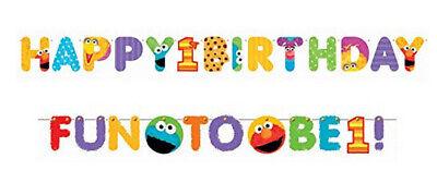 Sesame Street JUMBO letter BANNER 1st birthday first  party supplies Elmo 2pcs ()