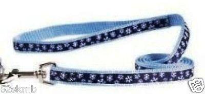 Blue Dog Leash Winter Wonderland Lead w White Snowflakes 4' x 5/8