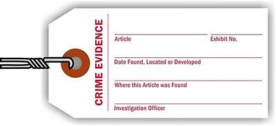 Crime Evidence Identification Tag, 100 Tags / Pack, 3.75