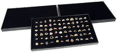 3 Ring Display Travel Trays Black Plastic Stackable 72 Slot Jewelry Pads Rings