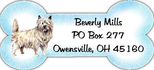 Bone Shaped Cairn Terrier return address labels WATERPROOF laser print