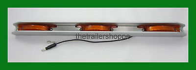 Amber 3 Light Combination Clearance ID Bar Marker 21 LED Trailer Aluminum Shield