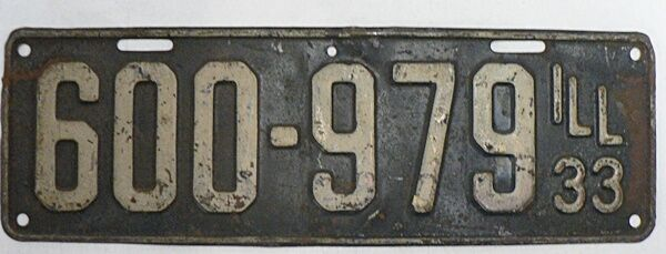 OLD ILLINOIS CAR LICENSE PLATE 1933