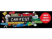 2 x Adult Carfest North Full weekend ( Fri to Mon ) with camping tickets .