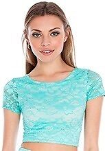Brand New With Tags Green Lace Crop Top With Cream Lining