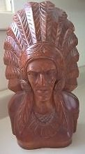 """Wooden Carved 13 1/2"""" Mik Mak Indian Chief Bust"""