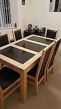 Black Marble & Light Wood Dining Table & 6 High Back Chairs