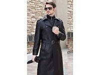Like New TRENCH COAT: Long BLACK, Cow Leather with BELT and Zip out Wool Lining -Top 1/2: £160. Ono