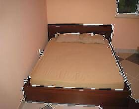 ikea wooden queen size bed frame + used mattress, can delivery at