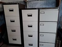 3 x 4-drawer metal filing cabinets
