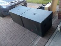 "Pair of Peavey Black Widow-loaded 2x15"" UL215S subwoofer PA cabinets - 1000W RMS each"
