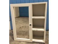Single Mirror Bathroom Cabinet with Shelves - White