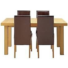 Chunky oak Effect Extending Table And 4 chocolate High Back chairs