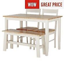 Dining table with 2 chairs and bench seat. New!