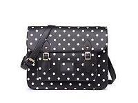 Leather look polka dot satchel bag
