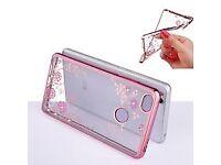 BRAND NEW: Silicone Diamond Clear Cover Soft TPU Flower Flora Phone Case For Xiaomi Redmi