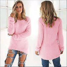 Sweater Womens Autumn Winter Solid Long Sleeve Fluffy Sweaters High Quality £14.99