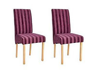 Collection Pair of Fabric Skirted Chairs - Plum