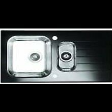 1.5 bowl glass / stainless steel kitchen sink