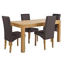 Oak effect extending 120cm table and 4 high back chairs