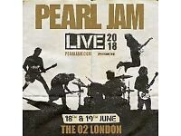 2 Pearl Jam tickets - 19/06 O2 Arena