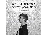 Justin Bieber Purpose Tour x2 tickets £270 @ The O2