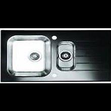Kitchen sink : 1.5 bowl glass & stainless steel